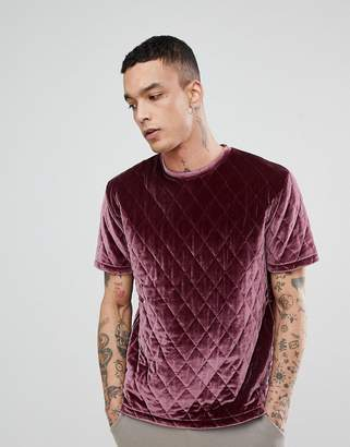 Asos DESIGN Relaxed T-Shirt In Quilted Velour In Pink