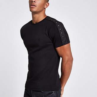 River Island Black suedette studded slim fit T-shirt