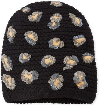 Jennifer Behr Bengal Knit Embellished Beanie Hat