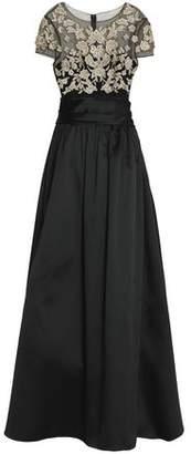 Marchesa Embellished Tulle-Paneled Duchesse Satin Gown