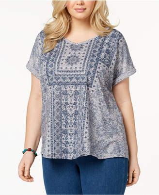 Style&Co. Style & Co Plus Size Printed Cuffed-Sleeve Top