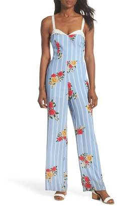 Adelyn Rae Iris Floral Print Jumpsuit