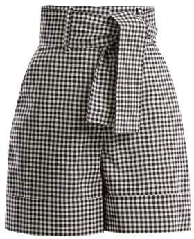 Sara Battaglia Vichy Gingham Cotton Shorts - Womens - Black White