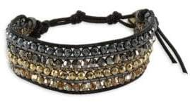 Chan Luu Metallic Kansa Leather & Sterling Silver Bracelet