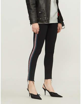 Mother Looker metallic side-striped jeans
