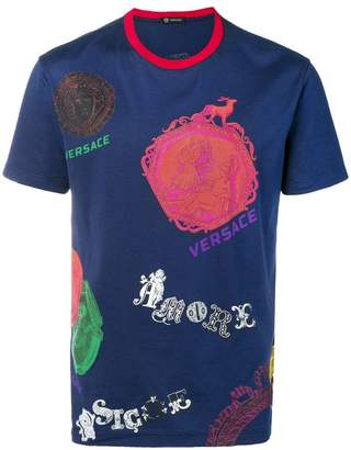 Versace multiple brand motifs T-shirt
