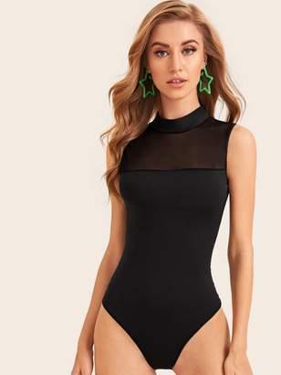 Shein Mesh Panel Mock Neck Solid Bodysuit
