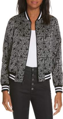Alice + Olivia x Keith Haring Lonnie Reversible Bomber Jacket