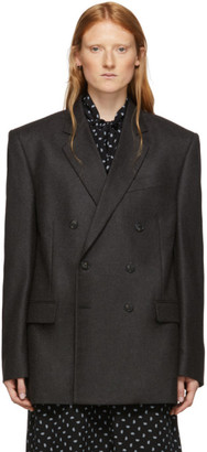 Balenciaga Grey Camel Hair Double-Breasted Blazer