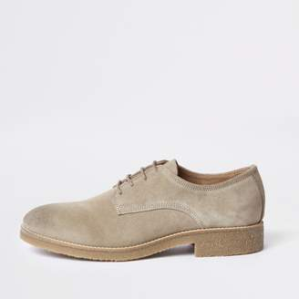 River Island Mens Stone suede derby shoes