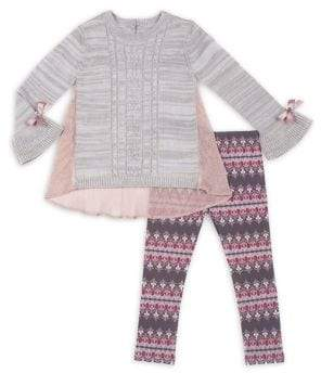 Little Lass Little Girl's Two-Piece Cable-Knit Top & Printed Leggings Set