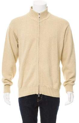 Loro Piana Zip-Front Rib Knit Cardigan