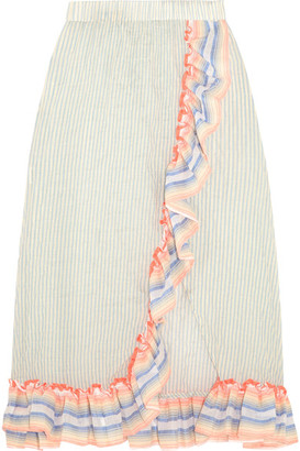 LemLem - Afia Ruffled Striped Cotton-blend Gauze Skirt - Sky blue $295 thestylecure.com
