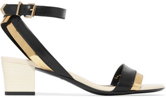 Lanvin - Metallic-trimmed Leather Sandals - Black $795 thestylecure.com