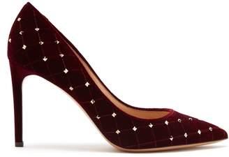 Valentino Rockstud Spike velvet point-toe pumps