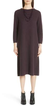 Fabiana Filippi Metallic Knit Wool Blend Dress