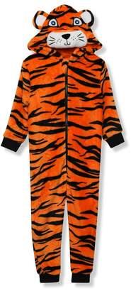 M&Co Fleece tiger onesie (1 - 8 yrs)