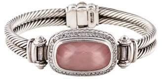 David Yurman Rose Quartz & Diamond Double Cable Bangle
