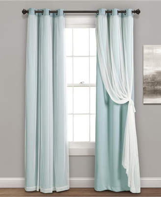 """Lush Decor 84""""x38"""" Grommet Sheer Panels with Insulated Blackout Lining"""