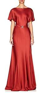 Alberta Ferretti Women's Belted Satin Gown-Red