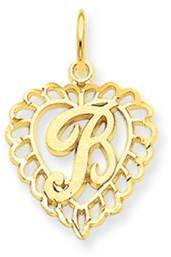 Black Bow Jewelry Company 14k Yellow Gold, Grace Collection, Satin Heart Initial B Pendant, 15mm