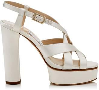 Jimmy Choo CARESS 125 Ivory Satin Platform Sandals