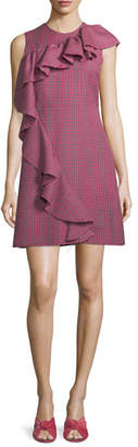MSGM Sleeveless Ruffle Plaid A-Line Wool Dress