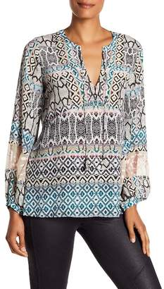 Hale Bob Long Sleeve Silk Blend Top