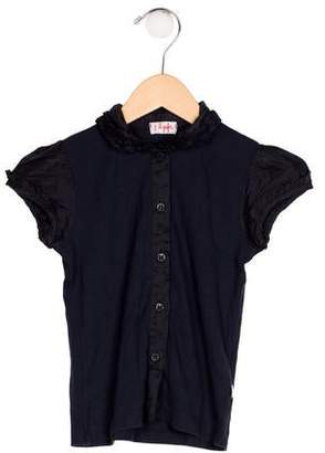 Il Gufo Girls' Collared Button-Up Top