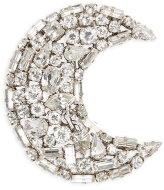 Saint Laurent Crystal Crescent Moon Brooch
