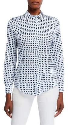 Escada Dotted Poplin Button-Front Shirt