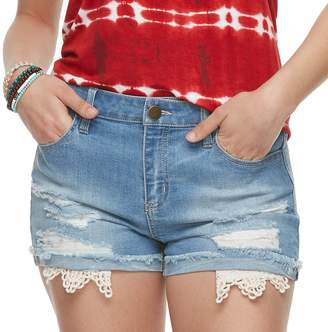 Tinseltown Juniors' Crochet Pocket Denim Shorts