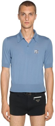 Prada Wool Polo Shirt W/ Logo Patch