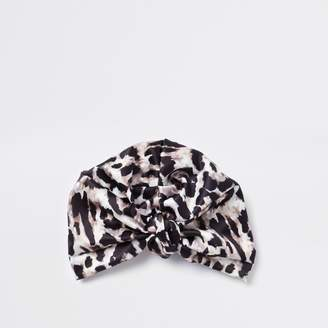 River Island Womens Brown satin leopard print turban hat