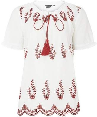 Dorothy Perkins Womens White Embroidered Frill Gypsy Top