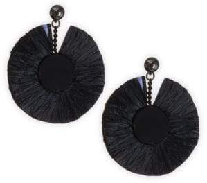 Oscar de la Renta Raffia Fringe Disc Earrings