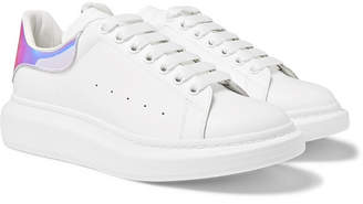Alexander McQueen Exaggerated-Sole Iridescent-Trimmed Leather Sneakers