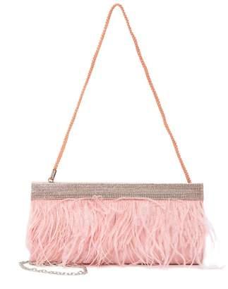 Jessica McClintock Francine Marabou Feather Embellished Clutch