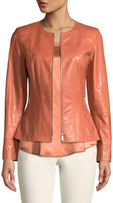 Lafayette 148 New York Courtney Round-Neck Leather Zip Jacket