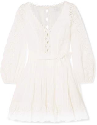 Zimmermann Broderie Anglaise Linen Mini Dress - White