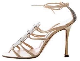 Manolo Blahnik Lizard-Trimmed Lace-Up Sandals