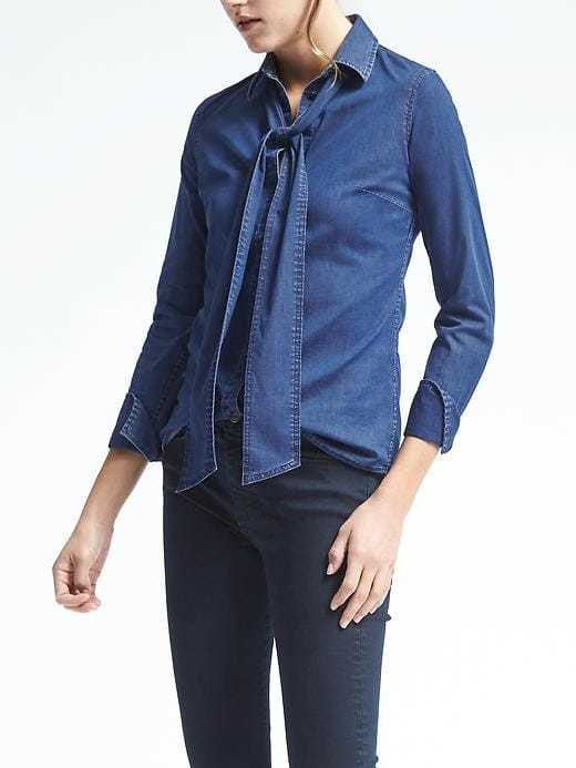 Riley-Fit Bow Denim Shirt