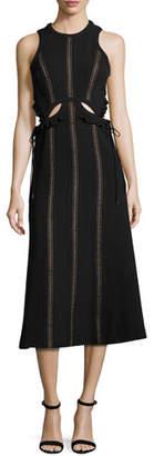 Self-Portrait Sleeveless Cutout Midi Dress, Black