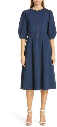 Diane von Furstenberg Thea Balloon Sleeve Zip Front Dress
