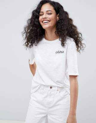 Only Mon Cherie Embroidered T-Shirt