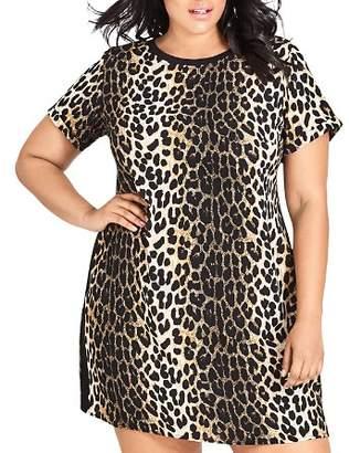 City Chic Plus Leopard-Print Shift Dress