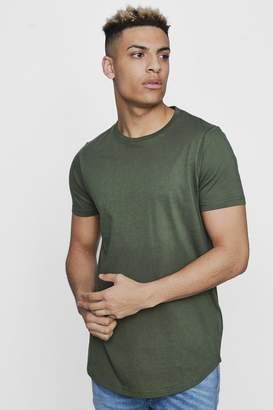 boohoo Short Sleeve Longline T Shirt with Curve Hem