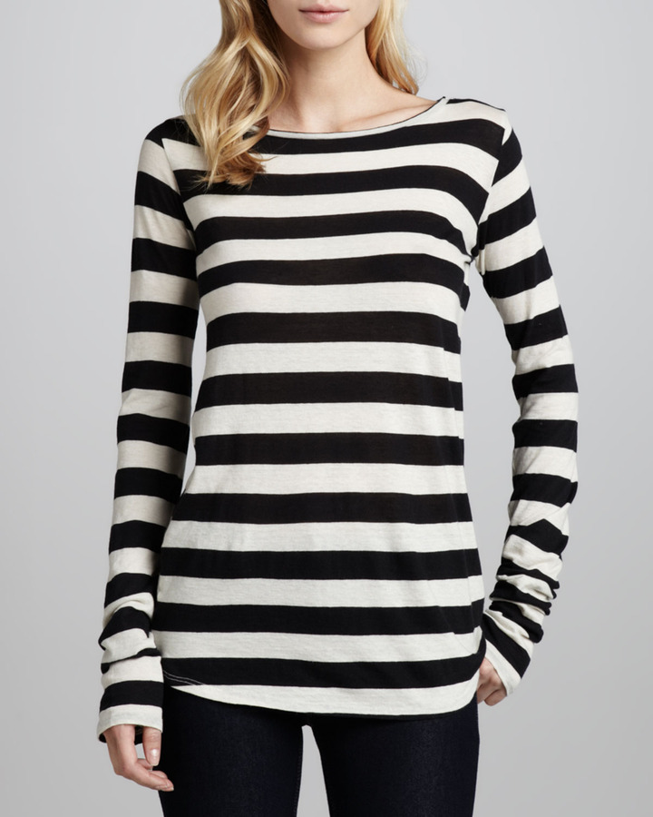 Neiman Marcus Majestic Paris for Long-Sleeve Boat-Neck Striped Top