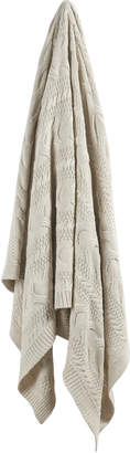 Webster Temple & Natural Cable Knitted Cotton Throw