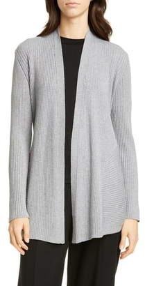 Eileen Fisher Mix Rib Long Wool Cardigan